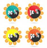 Set, collection, group of four isolated, sun, flat, colorful buttons, icons, signs, labels, stickers, 20, 30, 40, 50 percent discount, sale — Stock Vector