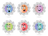 Set, collection, group of six isolated, sun, flat, colorful buttons, icons, signs, labels, stickers with  face - sadness, crying, surprise, anger, joy, disgust, malice, resentfulness.. — Stock Vector