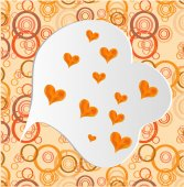 Valentines card with many orange hearts, pattern — Stock Vector