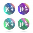 Set, collection, group of four, round isolated, flat, colorful buttons, icons, signs, labels, stickers, 30 - thirty - percent discount, sale — Stock Vector #69739829
