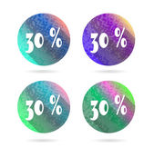 Set, collection, group of four, round isolated, flat, colorful buttons, icons, signs, labels, stickers, 30 - thirty - percent discount, sale — Stock Vector