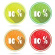 Set, collection, group of four isolated, flat, colorful buttons, icons, signs, labels, stickers, 10 percent discount, sale — Stock Vector #69804761