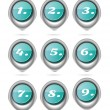 Set, collection of nine, isolated, oval, blue buttons with white numbers — Stock Vector #69804887