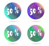 Set, collection, group of four isolated, flat, colorful buttons, icons, signs, labels, stickers, fifty percent discount, sale — Vecteur