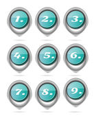 Set, collection of nine, isolated, oval, blue buttons with white numbers — Stock Vector