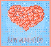 Valentines card with many red hearts, dots and text Happy Valentines Day — Cтоковый вектор