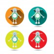 Set, collection of four isolated, round, orange, blue, yellow, red icons, buttons with modern, silver, smiling robot, with one large, blue eye — Stock Vector #69844049