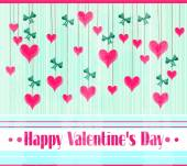Valentines card with text Happy Valentines Day, many hanging, pink hearts a blue bows — Stock Vector
