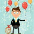 Birthday card with smiling, happy, young, standing, businessman with money, colorful, flying balloons, text Happy Birthday, blue background with pattern and lights — Stock Vector #70185859