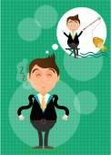Sleeping, young, standing, businessman has dream about fishing. He caught golden fish. Green background with pattern. — Stock Vector