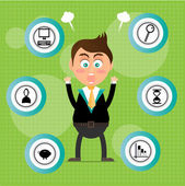 Angry, young, standing, businessman with round signs with black icons, green background with pattern — 图库矢量图片