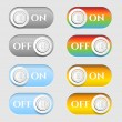 Set, collection, group of eight, modern, colorful, isolated icons, buttons - text On, Off — Stock Vector #70268589