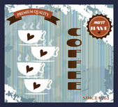 Vintage card - coffee shop with text and four cups of coffe with brown hearts, retro design, grunge — Stock Vector
