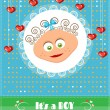 Romantic, funny, dotted, blue, baby shower, card with text Its a boy, smiling, cute boy with brown, curly hair, hanging red hearts, retro design — Stock Vector #70324057