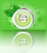 One, modern, green, metal, round label, button, sign with text Eco, leaves, lights, green background, reflection — 图库矢量图片