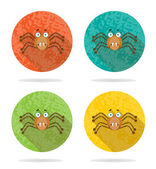 Set, collection, group of four halloween, round, isolated, flat, buttons, icons, signs, labels, stickers with brown, angry spider, grunge, long shadow — Stock Vector