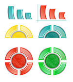 Set, collection of six isolated, modern, colorful - blue, yellow, red, green - pie charts, diagrams, use for infographic, presentation, reports, documents, white background — Stock Vector