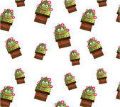 One seamless pattern with smiling cactus with face and flowers — Vetor de Stock