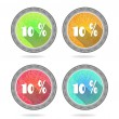 Set, collection, group of four, round, isolated, flat, colorful buttons, icons, signs, labels, stickers, 10 - ten percent discount, sale, long shadow, grunge, retro design — Stock Vector #71709931