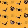 One halloween, simple, seamless pattern with black spiders, smiling pumkins, bats, spider webs, orange background — Stock Vector #71730143