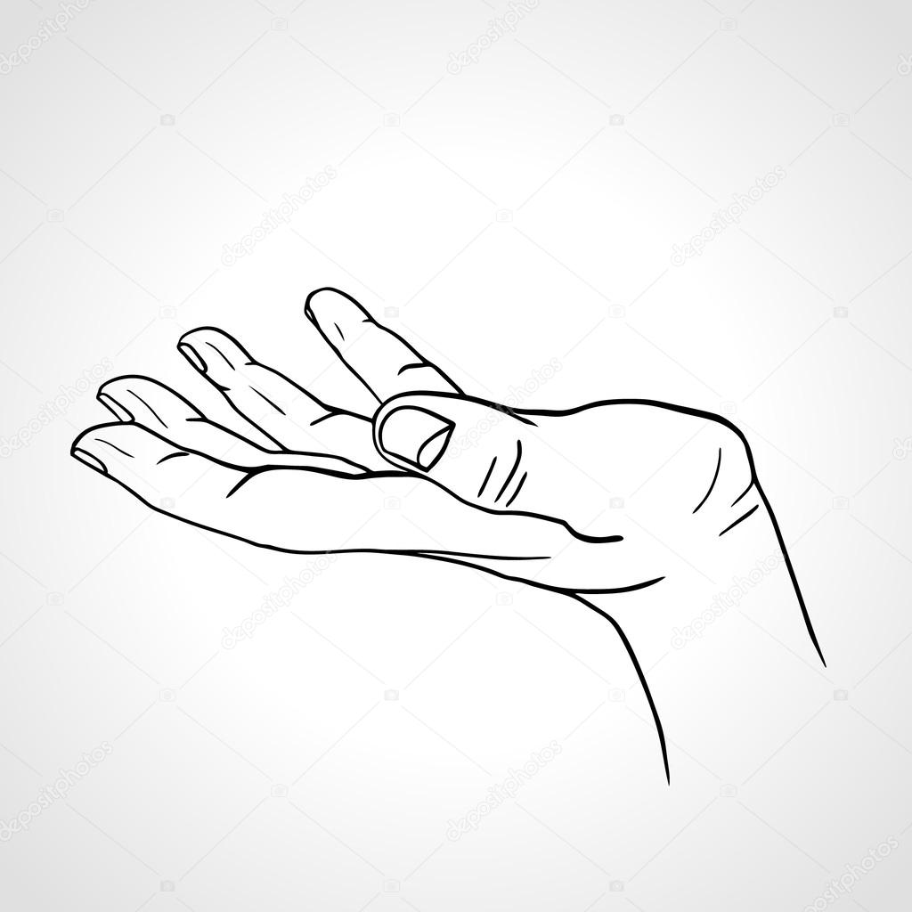 Line Art Hand : Side view of a line art hand with palm up isolated on