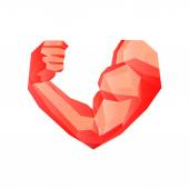 Polygonal red bodybuilders hand with biceps in heart shape. Gym or fitness logo. — Stock vektor