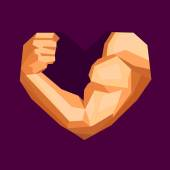 Polygonal bodybuilders hand with biceps in heart shape. Gym or fitness logo. — Vetor de Stock