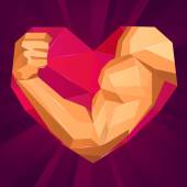 Polygonal bodybuilders hand with biceps in heart shape. Love sport — Stock Vector