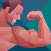 Polygonal colored vector bodybuilder logo. Sportsman shows his biceps. — 图库矢量图片