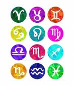 Set of calligraphic zodiac signs, horoscope symbols. Polygonal style — Stockvector