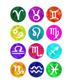 Set of calligraphic zodiac signs, horoscope symbols. Polygonal style — Stock Vector