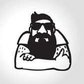 Bearded man in sunglasses giving a thumb up  — Stock Vector