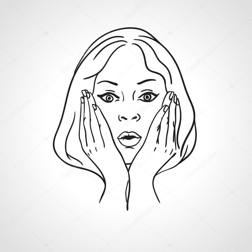 Scared Face Line Drawing : Shocked expression drawing