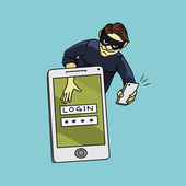 Social network hacker stealing password from smartphone screen, criminal on smart phone — Stock vektor