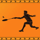 Detailed silhouette of a professional badminton player in ancient greek style — Vettoriale Stock