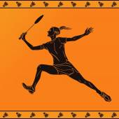 Detailed silhouette of a professional female badminton player in ancient greek style — Stock Vector