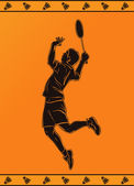 Detailed silhouette of a professional badminton player in ancient greek style — Stock Vector