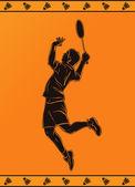 Detaillierte Kontur der ein Badmintonspieler im antiken griechischen Stil — Stockvektor