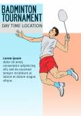 Badminton sport invitation poster or flyer background with empty space, banner template — Vettoriale Stock
