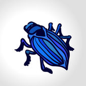 Ground beetle. Colorful vector drawing of big blue beetle. — Stock Vector