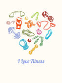 Fitness and gym Background. Hand drawn colorful icons set in the shape of heart — Stock Vector