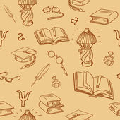 Books library seamless pattern. Reading background -- hand drawn doodle pattern. — Stok Vektör
