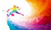 Badminton sport invitation poster or flyer background with empty space, banner template in trendy abstract colorful polygon style. Vector illustration — Stock Vector