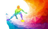 Badminton sport invitation poster or flyer background with empty space, banner template in trendy abstract colorful polygon style on rainbow back — Stock Vector