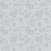 Navigation hand drawn doodles seamless pattern with car Navigator, binoculars, compass vector illustration — Stock Vector