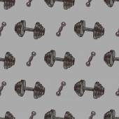 Hand drawn vector gym seamless pattern - sport and fitness minimal texture — Stock Vector