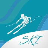 Ski downhill creative silhouette. Vector illustration — Stock Vector