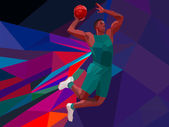 Polygonal geometric style illustration of a basketball player jump shot jumper shooting jumping viewed from the side set on colorful low poly background. — Stock Vector