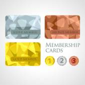 Gold, silver and bronze cards and medals set in polygonal style — Stock Vector