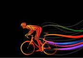 Professional cyclist involved in a bike race. Vector artwork in the style of paint strokes. — Stock Vector